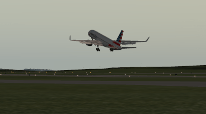 The 757 taking off from Runway 19L.