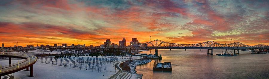 Snow Covered Waterfront Park at Sunset in HDR