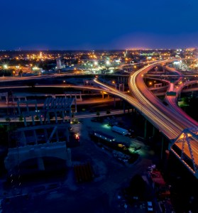 Louisville's spaghetti junction at night from atop the western tower on pier three of the Ohio River Bridges Project. #2