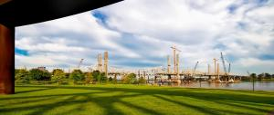 Panorama of The Ohio River Bridges Project Downtown Span at sunup. #4