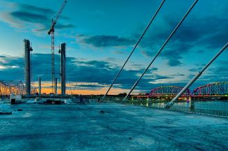 Looking north from the deck of the Downtown Span of the Ohio River Bridges Project at sunset.