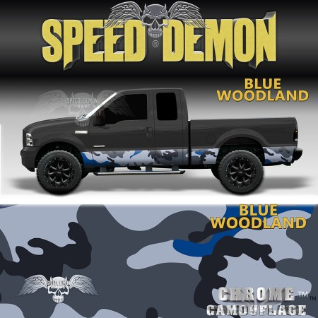 Blue Woodland Camo Rocker Panel Wraps