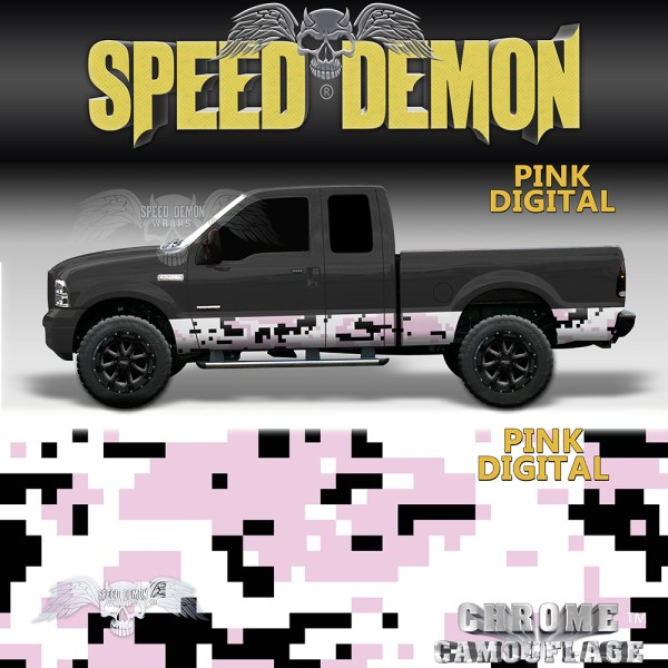 Pink Camo Rocker Panel Wrap Pink Digital Camouflage