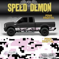 Pink Camo Rocker Panel Wrap Pink Digital Camouflage