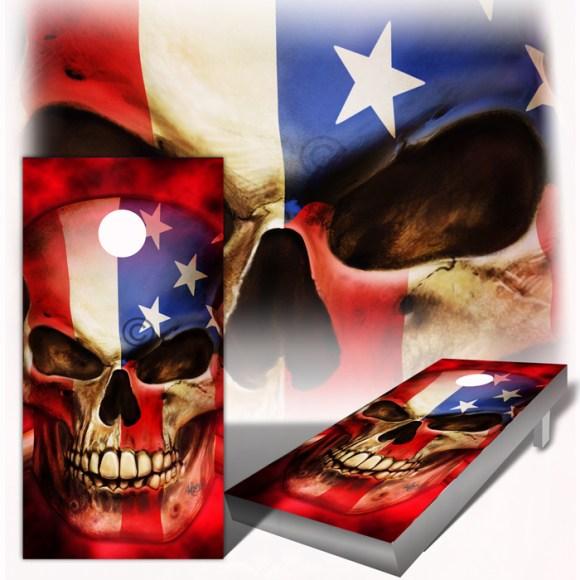 American Flag Skull -The-Patriot-Cornhole Board Wrap