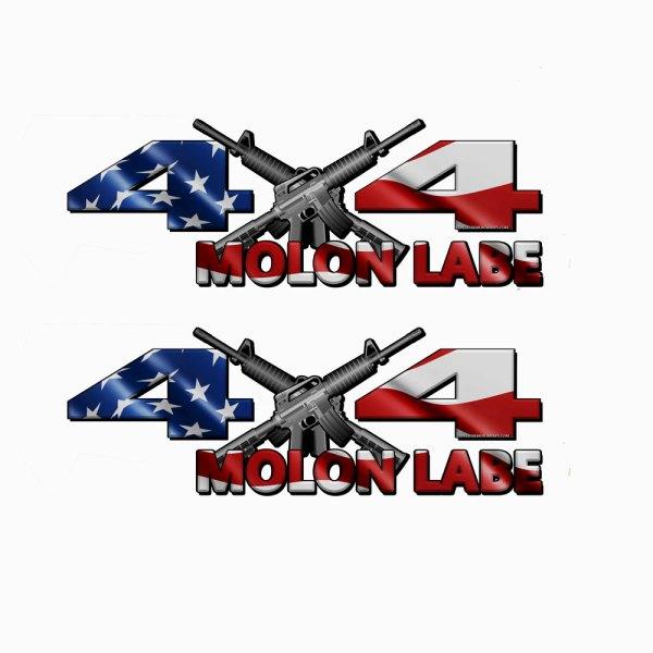 4x4 Decal MOLON LABE American Flag