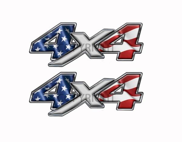 American Flag 4x4 Decal Silver X