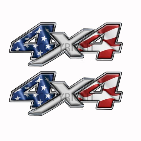 American Flag 4x4 Decal Silver X
