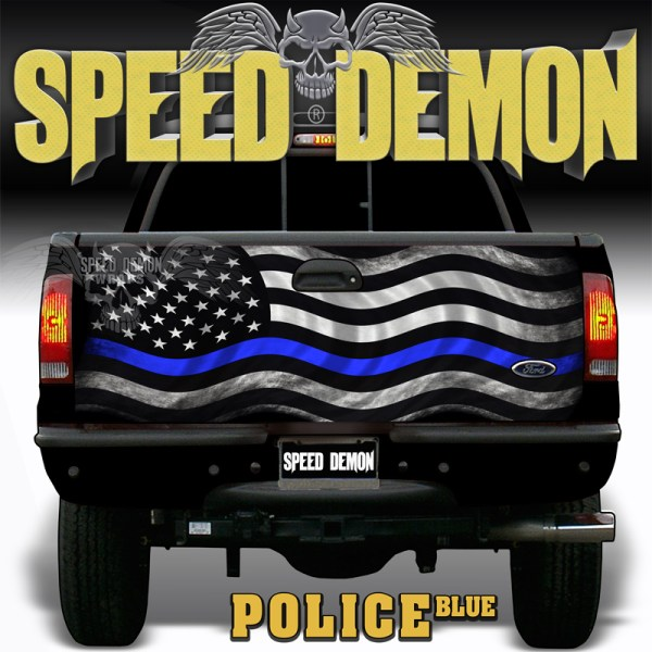 American Flag Subdued POLICE BLUE Tailgate Wraps