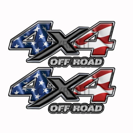 American Flag 4x4 Off Road Decal Black X