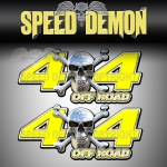 CHROME SKULL 4x4 Off Road Decals Yellow