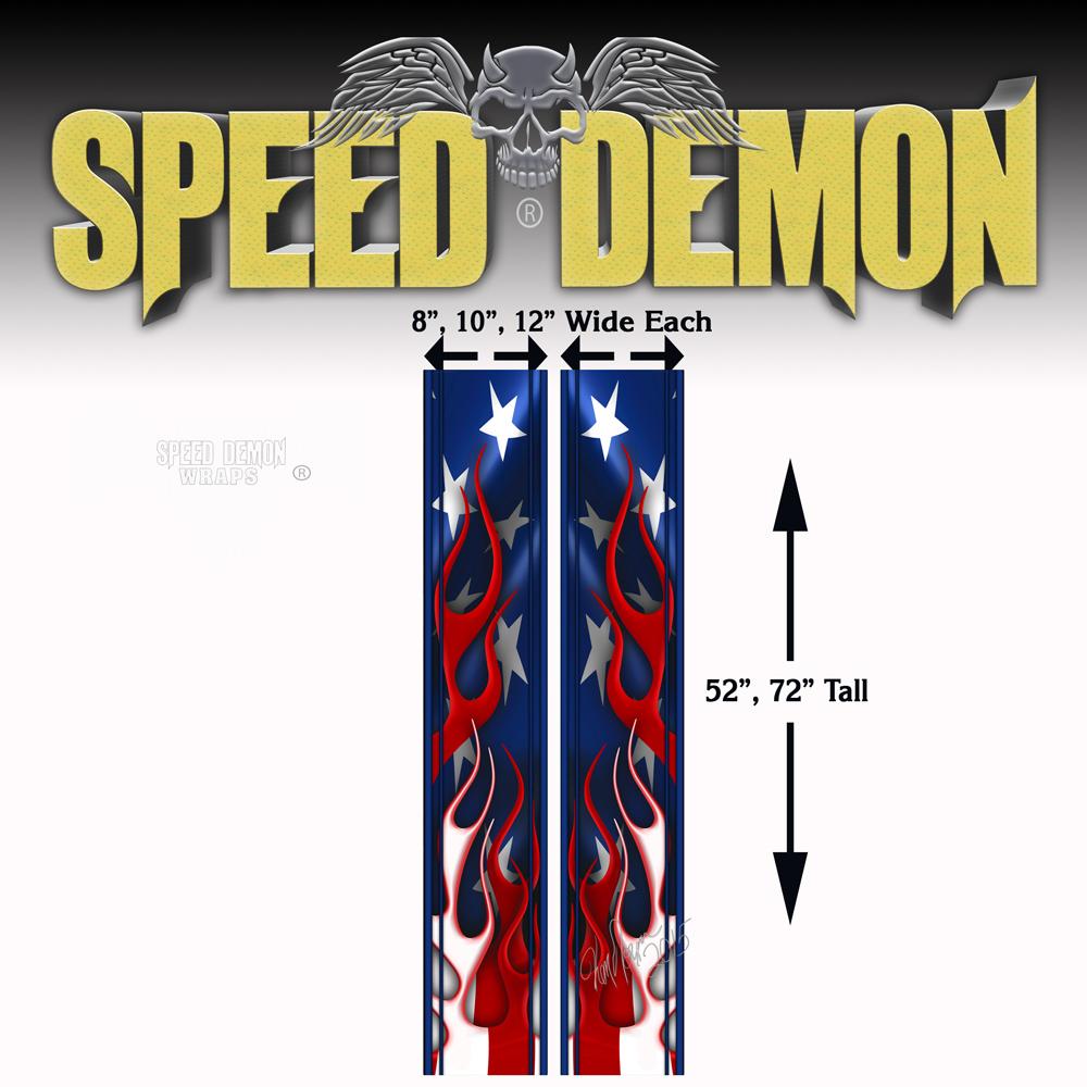 Camaro Rally Stripes Flaming American Flag