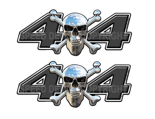 Chrome Skull 4x4 Decals Black