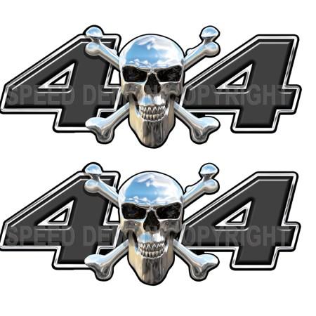 Chrome Skull 4x4 Decals Black