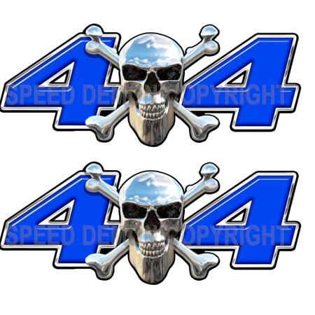 Chrome Skull 4x4 Decals Blue