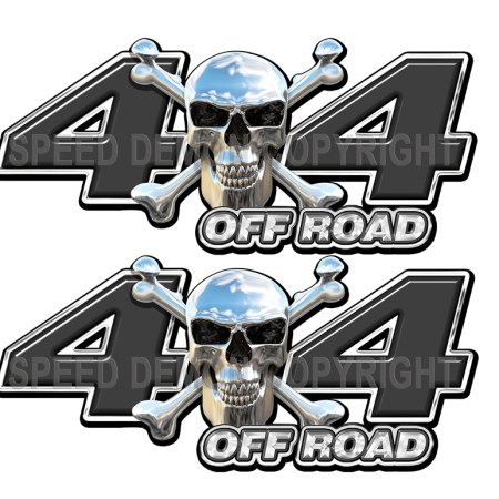 Chrome Skull 4x4 Off Road Decals Black