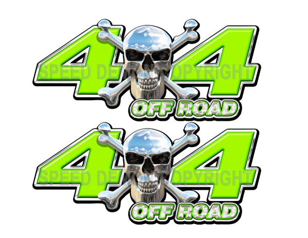Chrome Skull 4x4 Off Road Decals Green