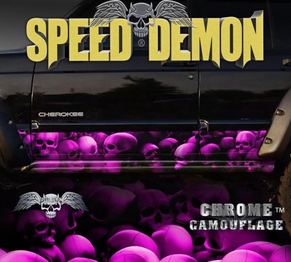 Jeep Cherokee Rocker Wraps Skulls Pink