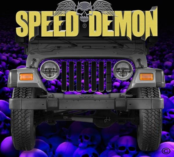 Jeep Wrangler Grill Wraps Skulls Blue Purple Hue