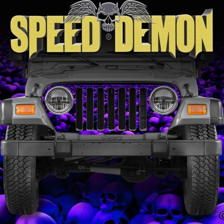 Jeep Wrangler Grill Wraps Skulls Blue Purple Hue