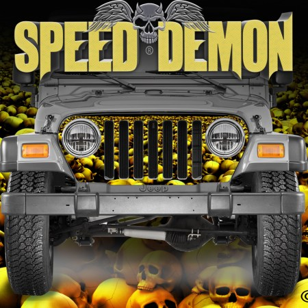 Jeep Wrangler Grill Wraps Skulls Gold