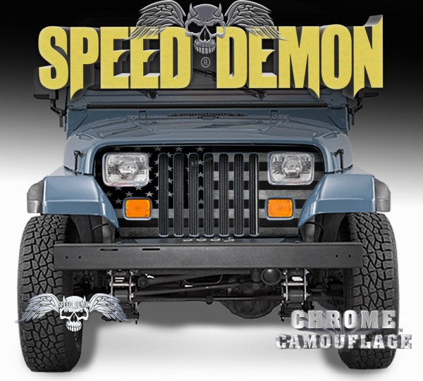Jeep Wrangler Grill Wraps American Flag Subdued1987-1995 YJ