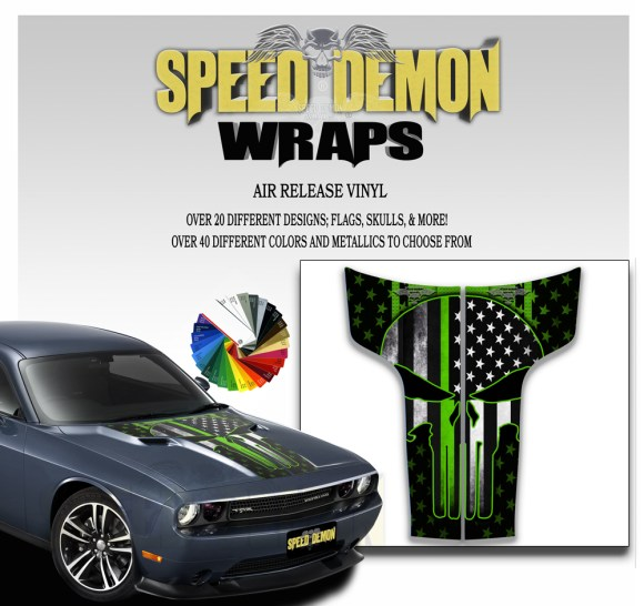 Dodge Challenger Hood Punisher Stripes Decal 2011-2014 American Flag Green Line