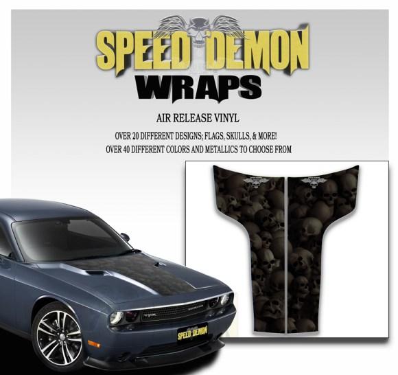 Dodge Challenger Hood Stripes Skulls Black Ghosted