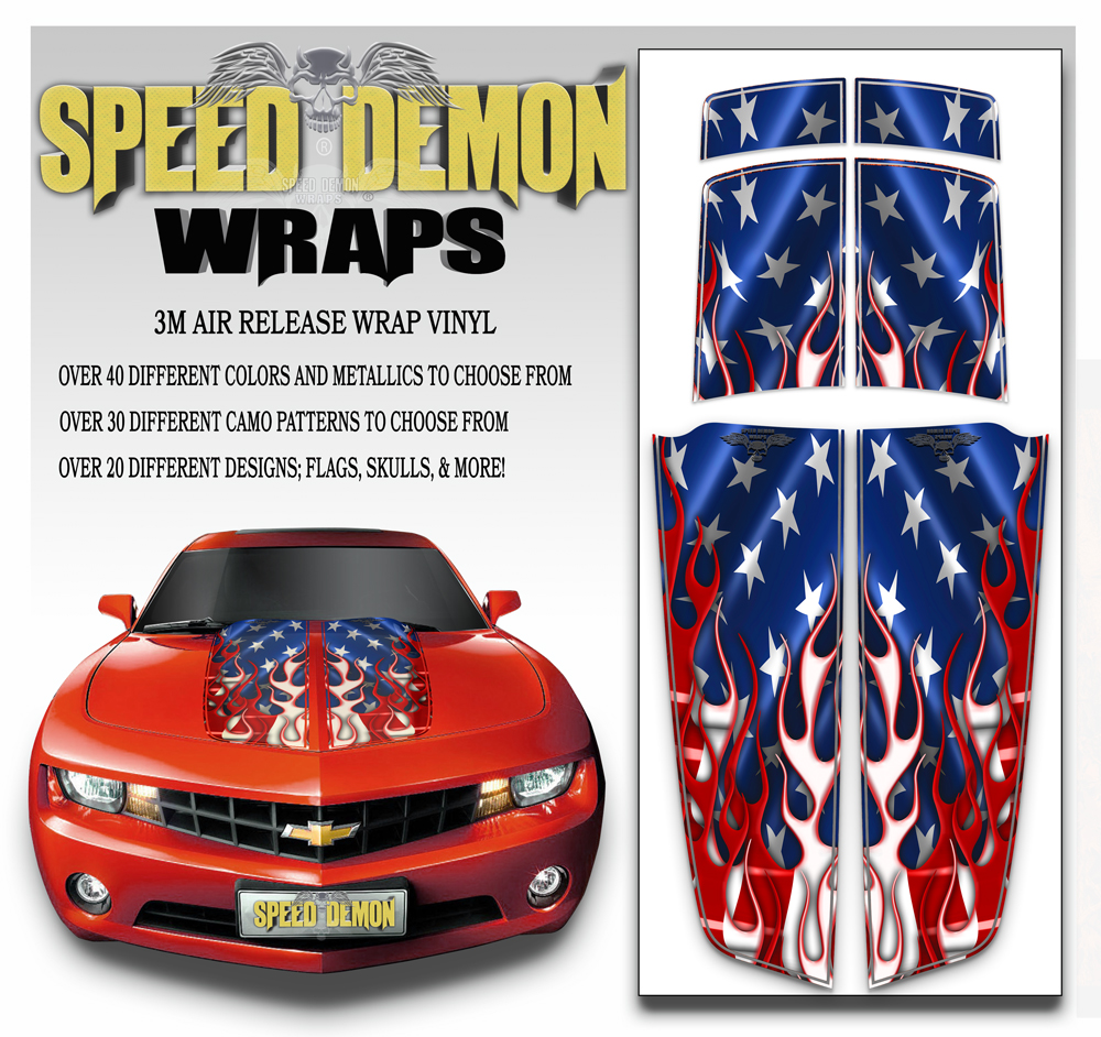 Camaro Stripes Flaming American Flag 2010-2011-2012-2013-2014-2015