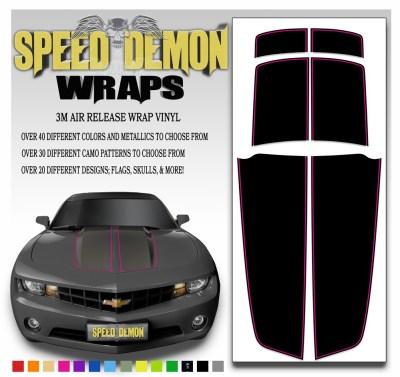 Black Camaro Stripe Kit With Pink Pin Stripe 2010-2015