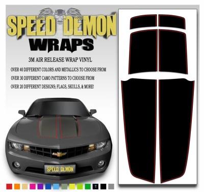 Black Camaro Stripe Kit Wit Red Pin Stripe 2010-2015