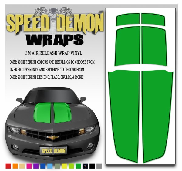 Camaro Stripes Green Stripe With Black Pin Stripe 2010-2011-2012-2013-2014-2015