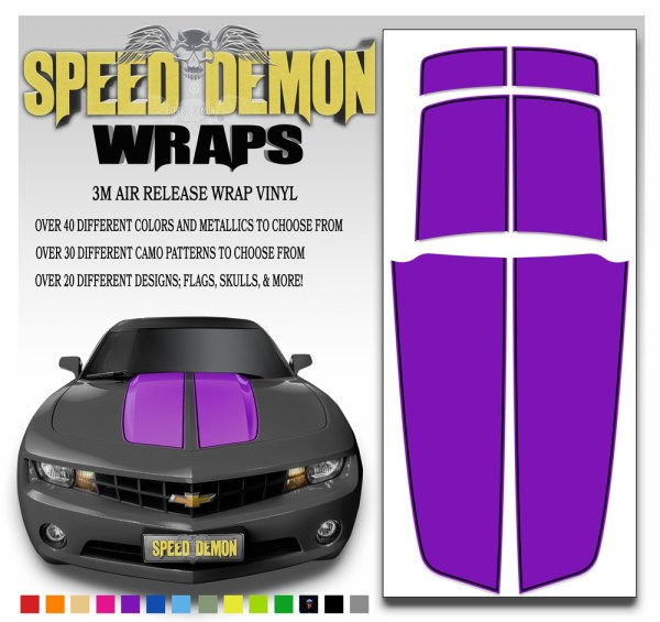 Camaro Stripes Purple With Black Pin Stripe 2010-2011-2012-2013-2014-2015