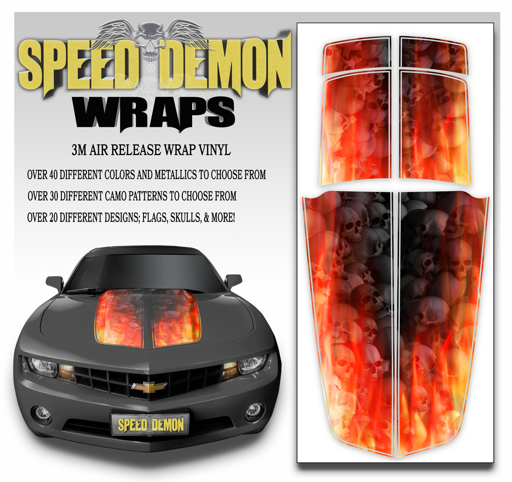 Camaro Stripes Flaming Grey Skulls 2010-2011-2012-2013-2014-2015