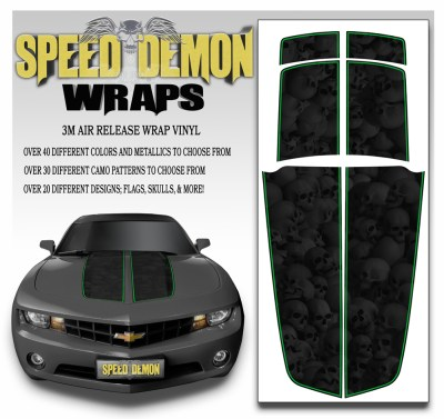 Camaro Stripes Heavily Ghosted Skulls With Green Pin Stripe 2010-2011-2012-2013-2014-2015