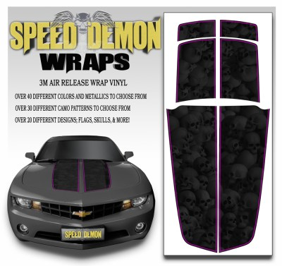 Camaro Stripes Heavily Ghosted Skulls With Pink Pin Stripe 2010-2011-2012-2013-2014-2015