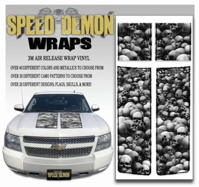 Chevrolet Avalanche Stripes Grey Skulls Black Stripe 2007-2013