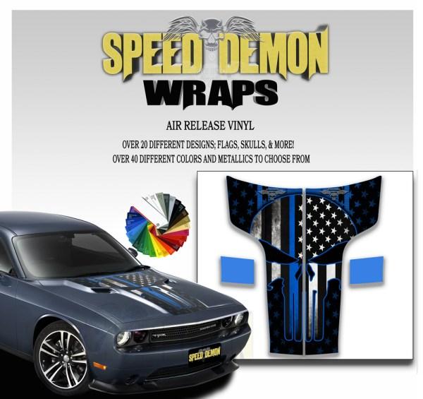 Dodge Challenger Hood Punisher Stripes Decal 2011-2012-2013-2014 American Flag Blue Line