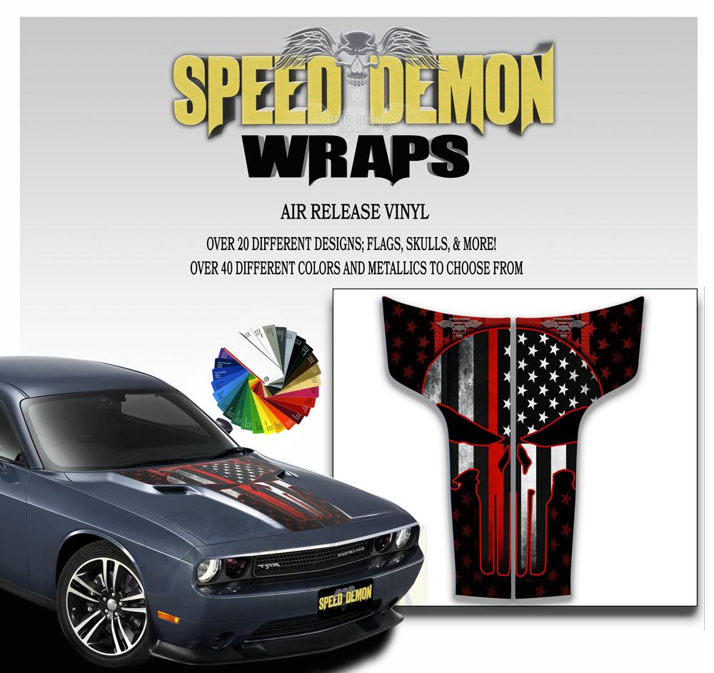 Dodge Challenger Punisher Stripes Decal American Flag Red Line 2011-2012-2013-2014