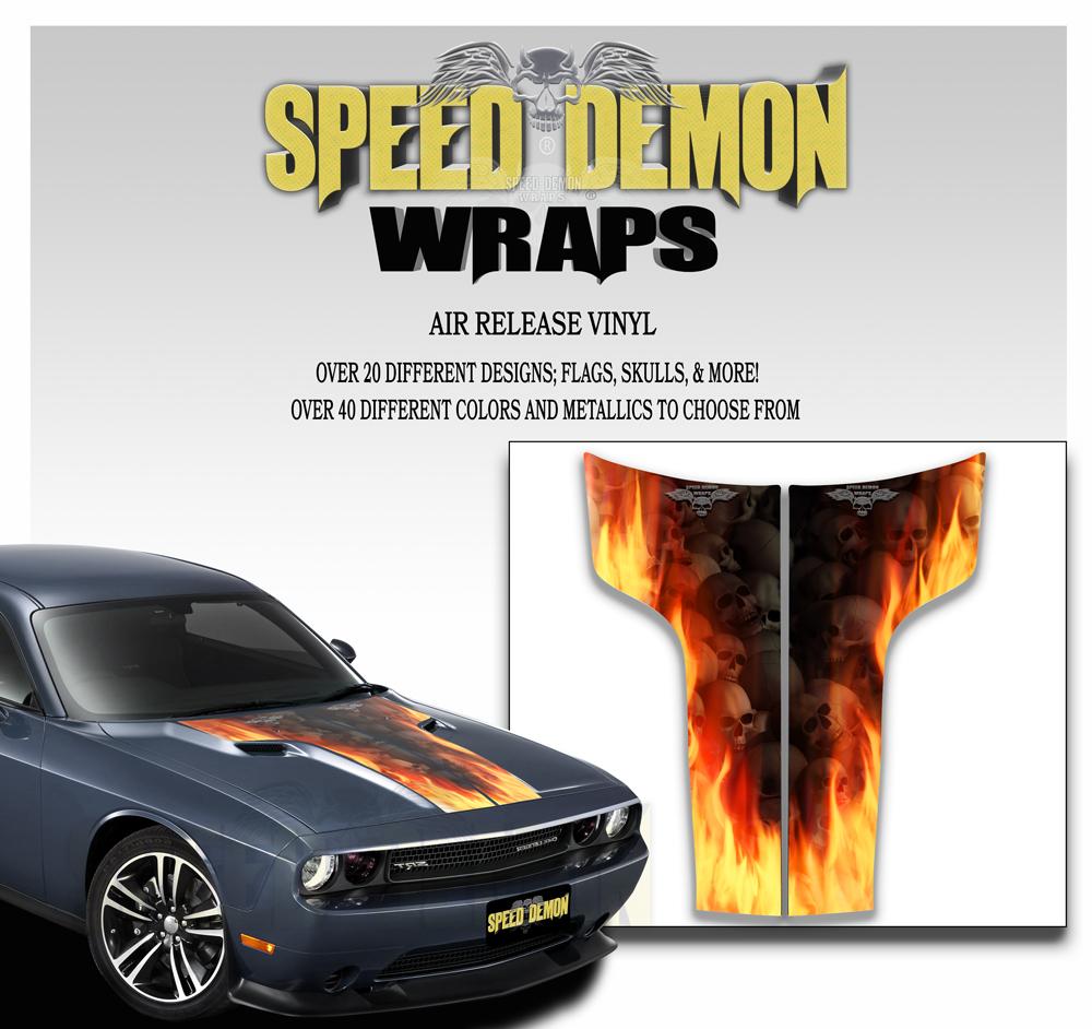 Dodge Challenger Hood Stripes Flaming Skulls