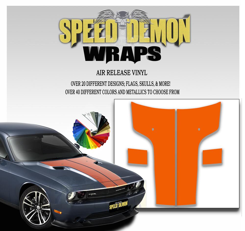 Dodge Challenger Hood T Stripe-Orange