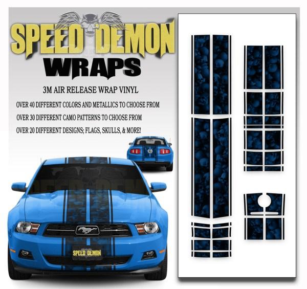 Ford Mustang Eleanor Racing Stripe Kit Skulls Ghosted Blue 2010-2011-2012