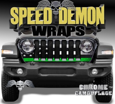 Jeep Wrangler Grill Wraps American Flag 2018-2019-2020 JL Green Line