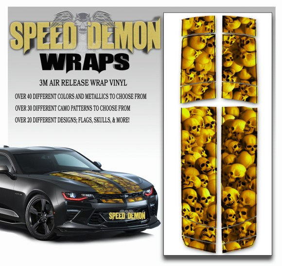 Skull Stripper V6 Camaro Stripes Golden w BLK PS 2016-2017-2018