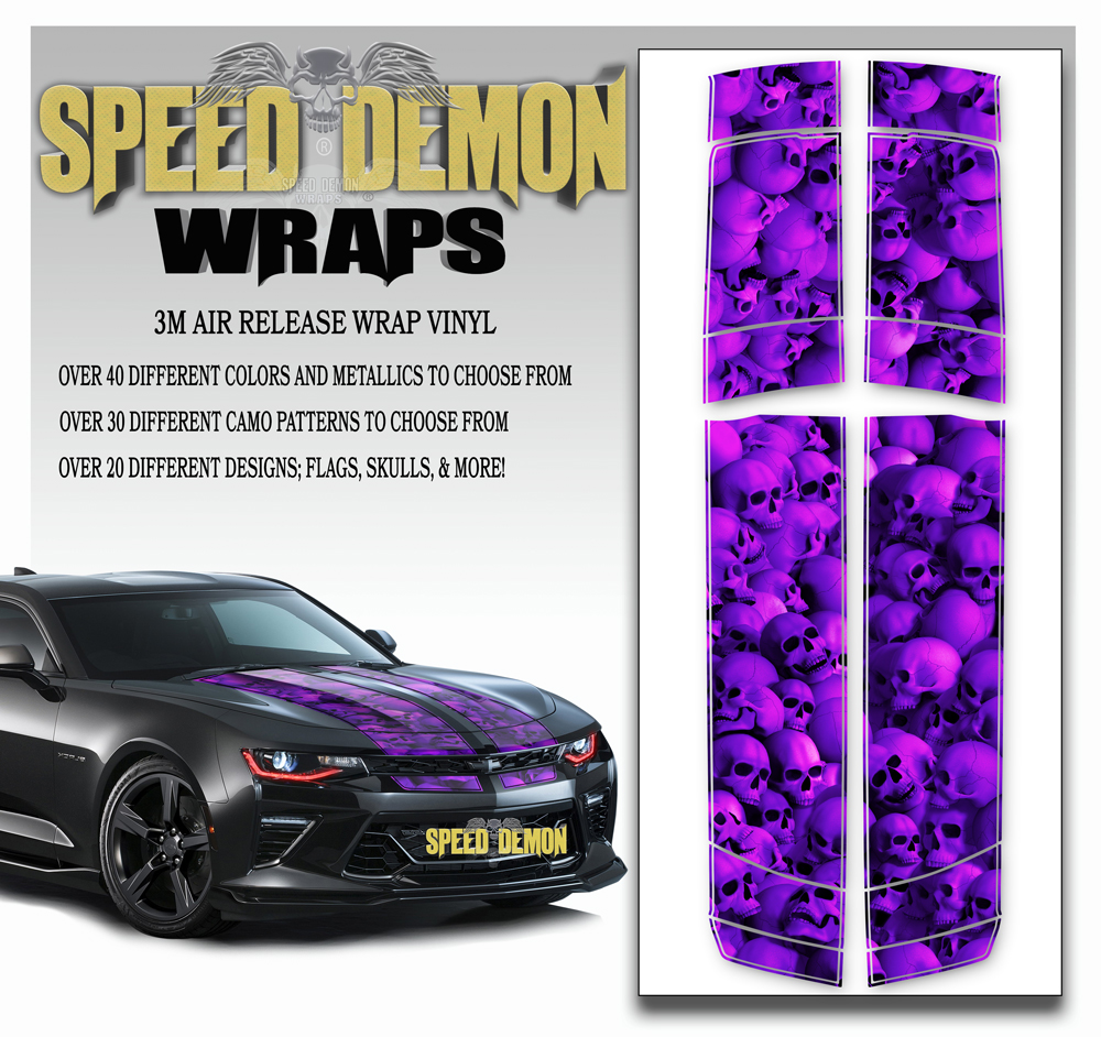 Skulls V6 Camaro Stripes Purplish 2016-2017 2018