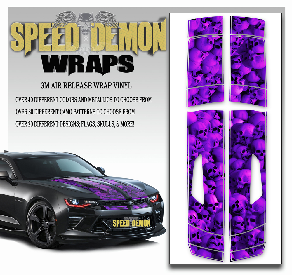 Skulls V8 Camaro Stripes Purple 2016 2017 2018