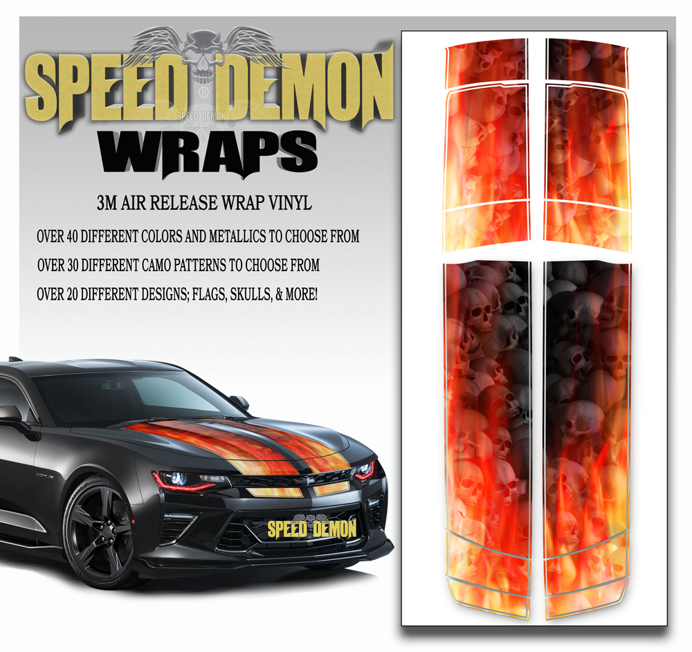 V6 Camaro Stripes Flames Grey-Skulls