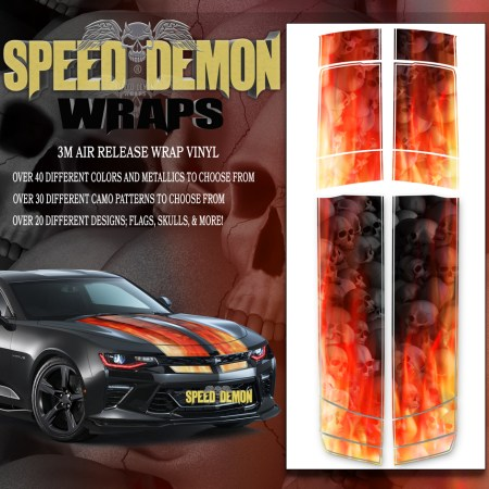 V6 Camaro Stripes Flames Grey Skulls Inferno 2016-2017-2018