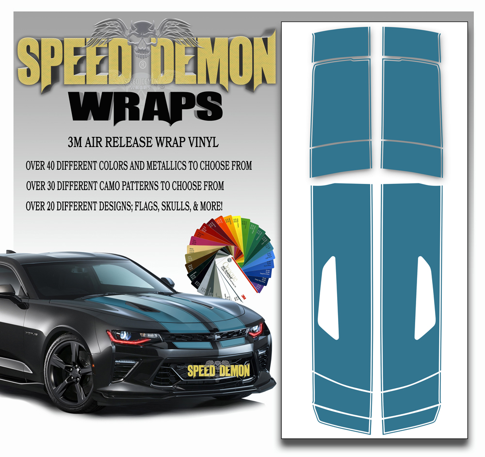V8 Camaro Stripes Teal 2016-2017-2018