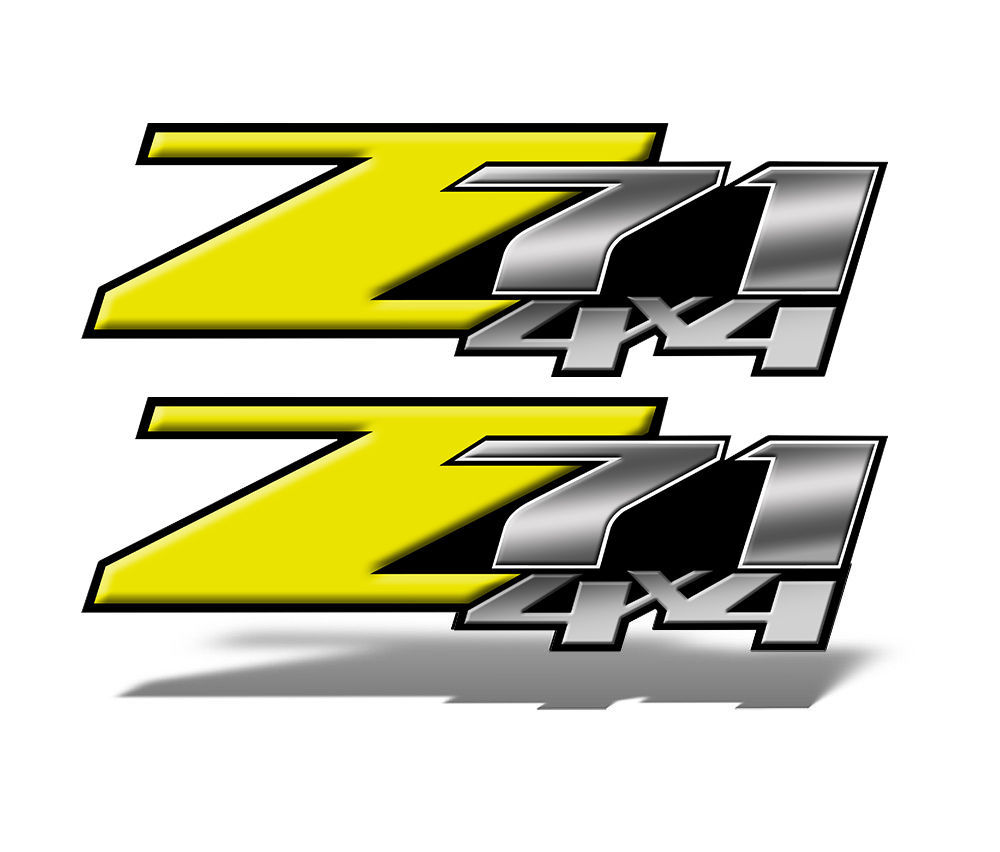 Z71 4x4 Decals Yellow